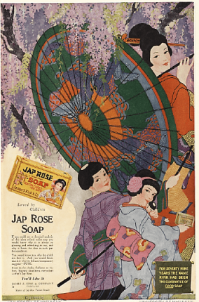 Jap Rose soap ad, Japanese women with parasol.