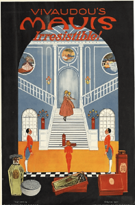 1919 Mavis perfume ad, woman on stairs in mansion, footmen.