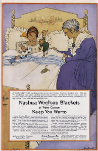 1919 Nashua woolen blankets ad with girl lying in bed with dolls and grandmother sitting on bed.