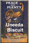 1919 Uneeda Biscuit ad with slogan Peace and Plenty, illustration of cornucopia.