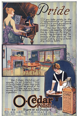 1919 O-Cedar polish ad with woman playing piano, living room, and woman cleaning.