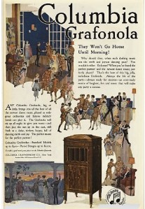 1919 Columbia Grafonola ad with illustration of party.