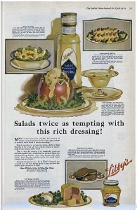 1919 Libby's salad dressing ad with illustrations of food.