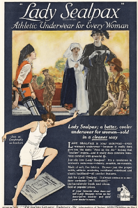 Lady Sealpax underwear ad, leaping woman in underwear under golfer, nurse, and other women.