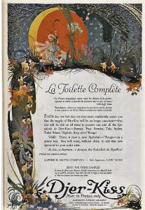 Djer-kiss perfume ad, illustration of fairies.