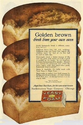 Yeast Foam ad, illustration of three loaves of bread.