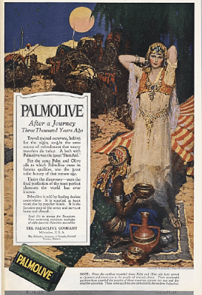 Palmolive soap ad, man with women in harem clothing.