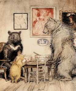 Arthur Rackham illustration, The Three Bears