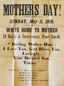 Flier from Red Cross et all. with suggested language for soldiers' Mother's Day postcards.