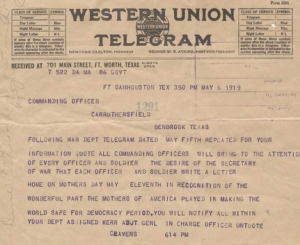 1919 telegram instructing soldiers to write to their mothers on Mother's Day