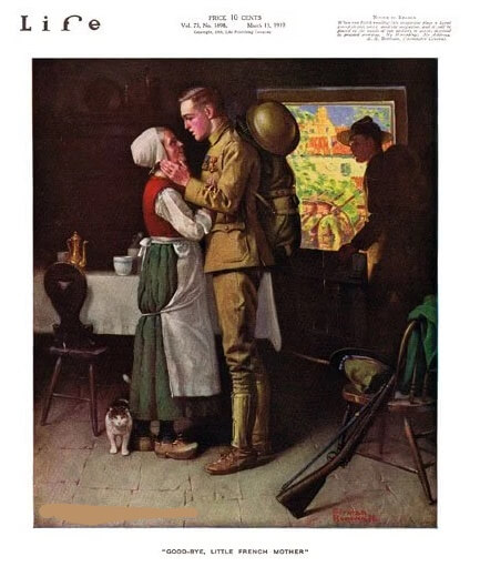 Norman Rockwell drawing of soldier saying goodbye to French family, Life magazine, 1919
