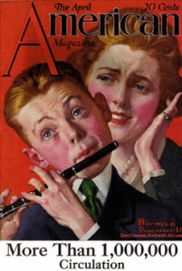 Norman Rockwell American magazine cover, May 1919, boy playing flute, pained mother behind
