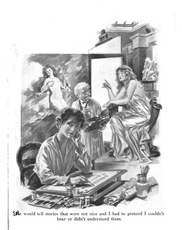 Illustration from Marion, artist and nude model in drape