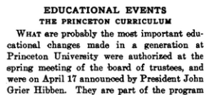 School and Society headline, Educational Events, The Princeton Curriculum.