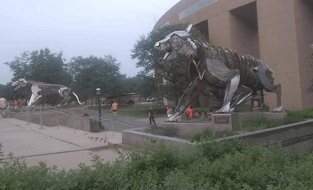 Tiger sculptures outside Palmer Stadium, Princeton University.
