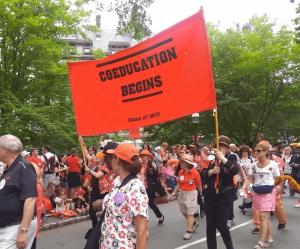 Princeton P-rade banner, Coeducation Begins.
