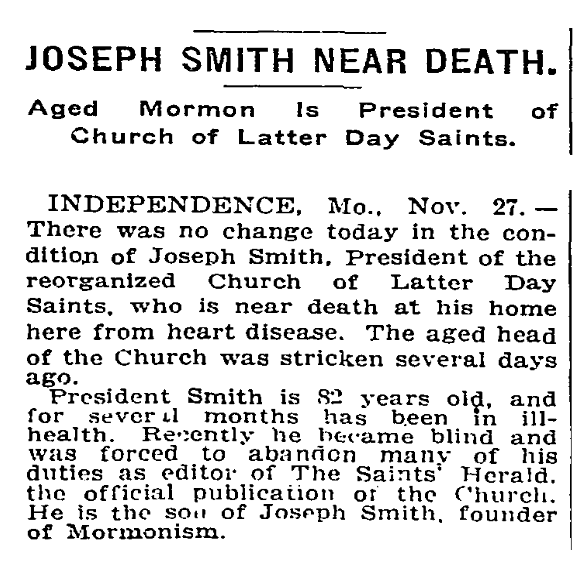 New York Times article on imminent death of Joseph F. Smith, 1914