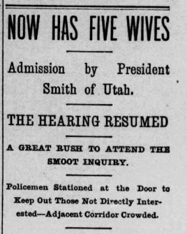 Washington Evening Star headline, Now Has Five Wives