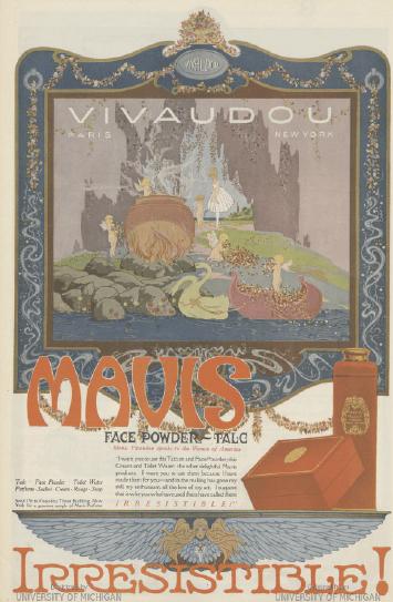 Vivaudou Mavis face powder ad, 1919.