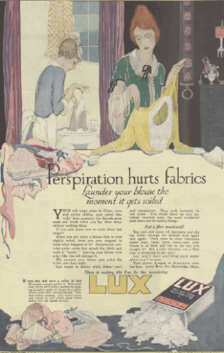 Lux soap ad, 1919, Perspiration hurts fabrics