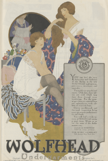 Wolfhead underwear ad, 1919, two women getting dressed.