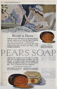 Pears soap ad, 1919, woman in bed looking out of window.