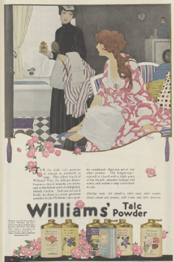Williams' talc powder ad, 1919.