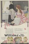 Williams' talc powder ad, woman sitting by tub with maid, 1919.