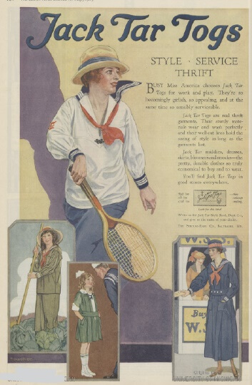 Jack Tar Togs advertisement, 1919, woman playing tennis.