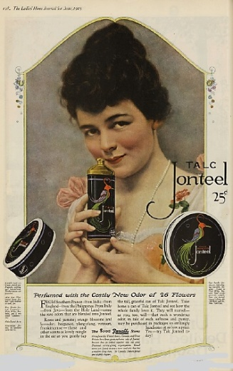 Talc Jonteel advertisement, woman with talcum powder, 1919.