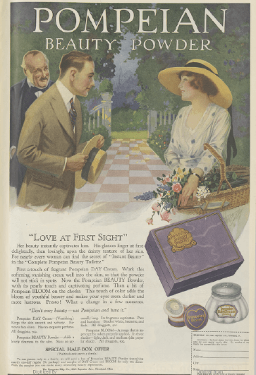 Pompeian Beauty Powder ad, 1919, young man and woman flirting.
