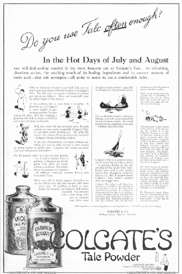 Colgate's talc powder ad, 1919.