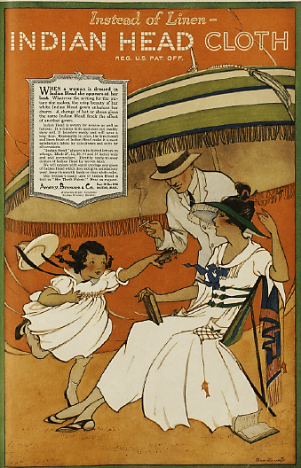 Indian Head Cloth ad, 1919, family under umbrella.
