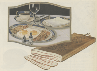 Swift's {remium Bacon ad, 1919, bacon with fried eggs.