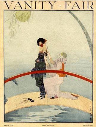 Vanity Fair cover, August 1919, Ruth Sener, harlequin and woman on bridge.