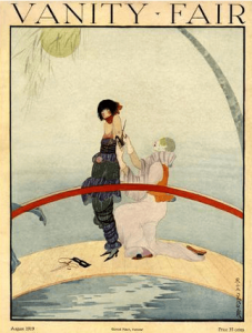 Vanity Fair cover, August 1919, Rita Senger, harlequin and woman on bridge.