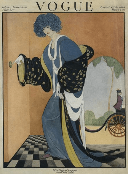 Vogue cover, August 1919, George Wolfe Plank, woman by door with carriage.