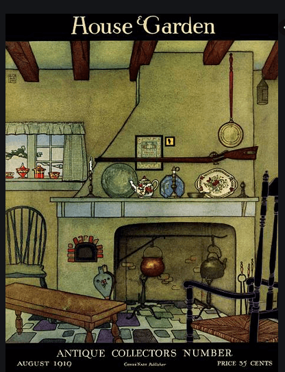 House and Garden cover, August 1919, fireplace with items on mantle.