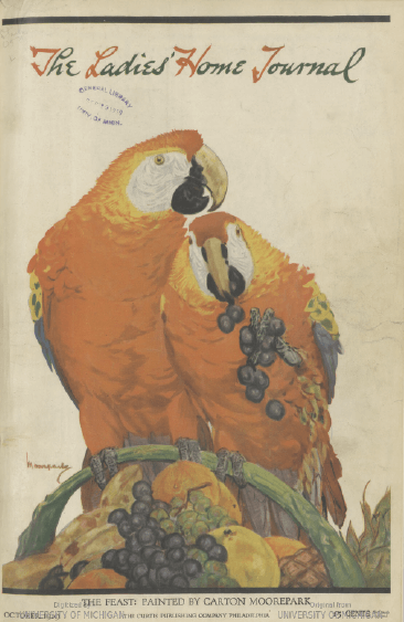 October 1919 Ladies' Home Journal cover depicting two parrots nestling.