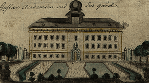 Sketch of Gustavianum at Uppsala University by Gustaf Johan Härstedt