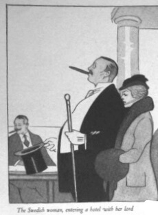 Illustration of a Swedish woman entering a hotel behind her husband.