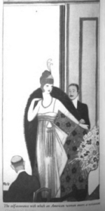 Illustration of a woman in an evening gown entering a room.
