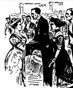 Illustration of Selma Lagerlöf receiving the Nobel Prize in Literature from King Gustav V.