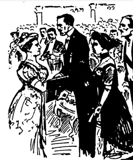 Illustration of Selma Lagerlöf receiving the Nobel Prize in Literature from King Gustav V.