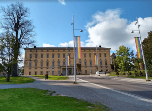 Carlonia Rediviva, Uppsala, with pride flags