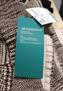 H&M label for pants made of recycled household waste.