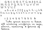 Illustration of library hand handwriting.