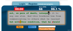 Screenshot of online typing test, 66 wpm, 99 percent accuracy.