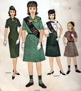 Pictures of girl scout uniforms, 1960s.