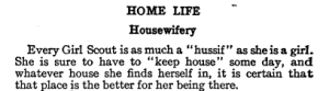 Selection from 1916 Girl Scout handbook on housewifery.